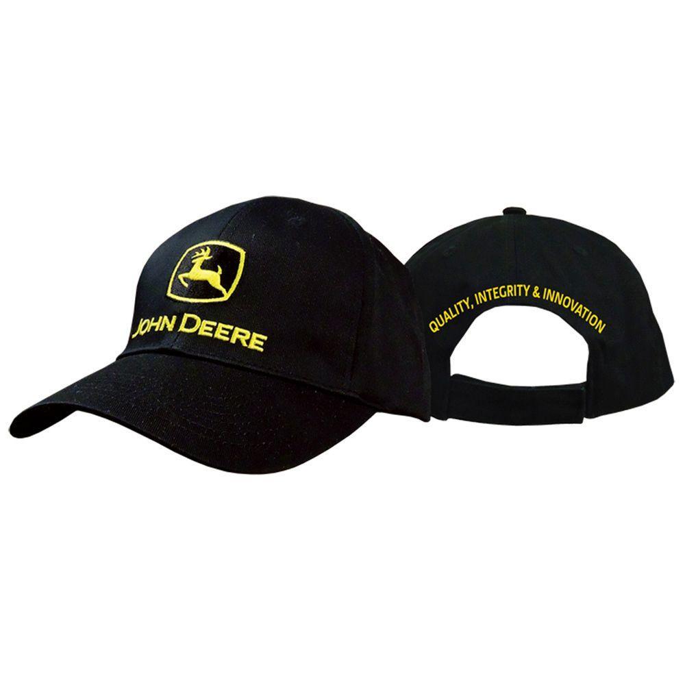 John Deere Men's One-Size 6-Panel Twill Hat/Cap in Black with Yellow Trademark