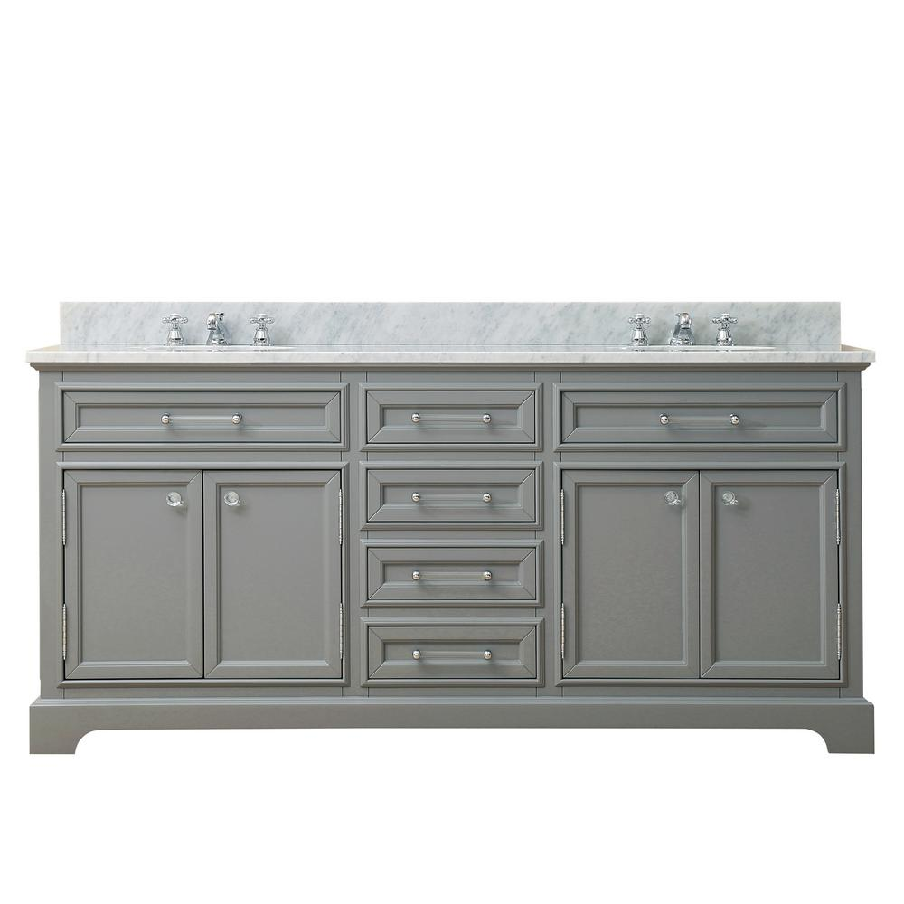 Water Creation Derby 72 in. W x 22 in. D Bath Vanity in Gray with Marble Bath Vanity Top in Carrara White with White Basin and Faucets