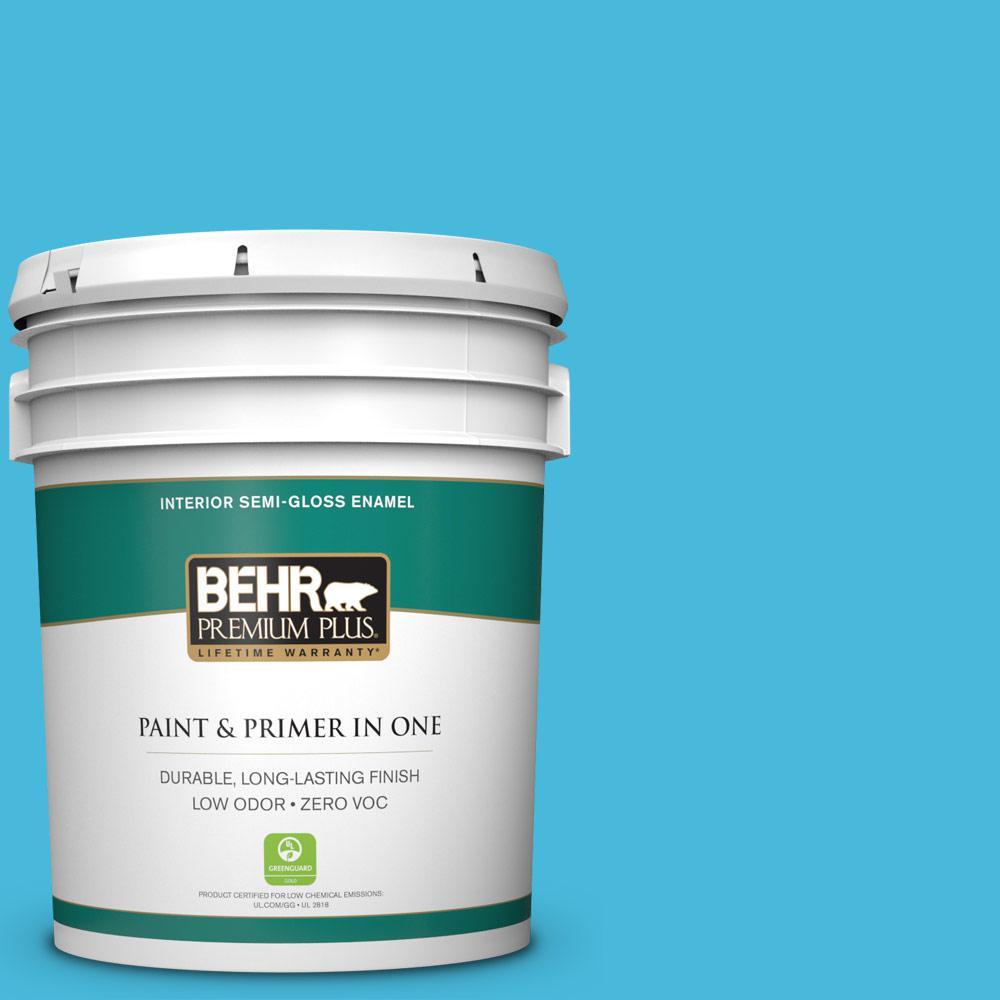 BEHR Premium Plus 5-gal. #530B-5 Azurean Zero VOC Semi-Gloss Enamel Interior Paint