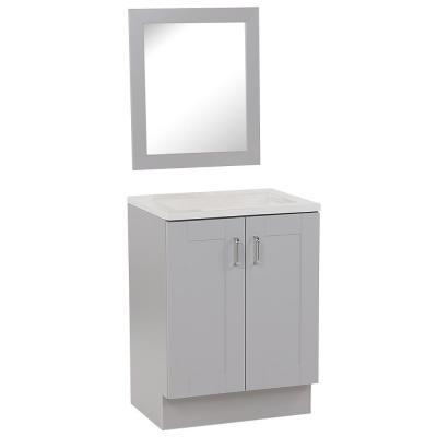 Arla 24 in. W x 18.75 in. D Vanity in Pearl Gray with Cultured Marble Vanity Top in White with White Sink and Mirror