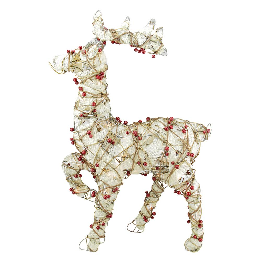 28 in. Christmas Lighted Standing Burlap and Berry Rattan Reindeer Outdoor