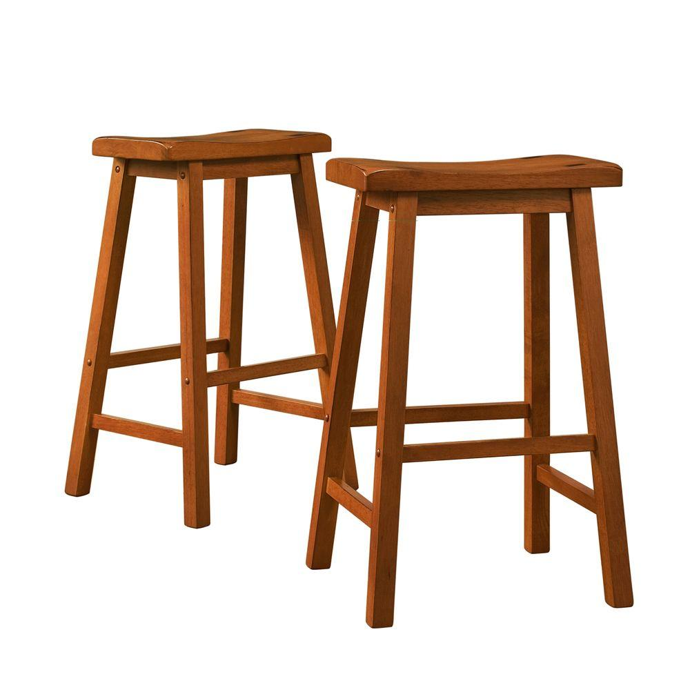 Home Decorators Collection 29 in. H Oak Saddleback Stool (Set of 2) - DISCONTINUED