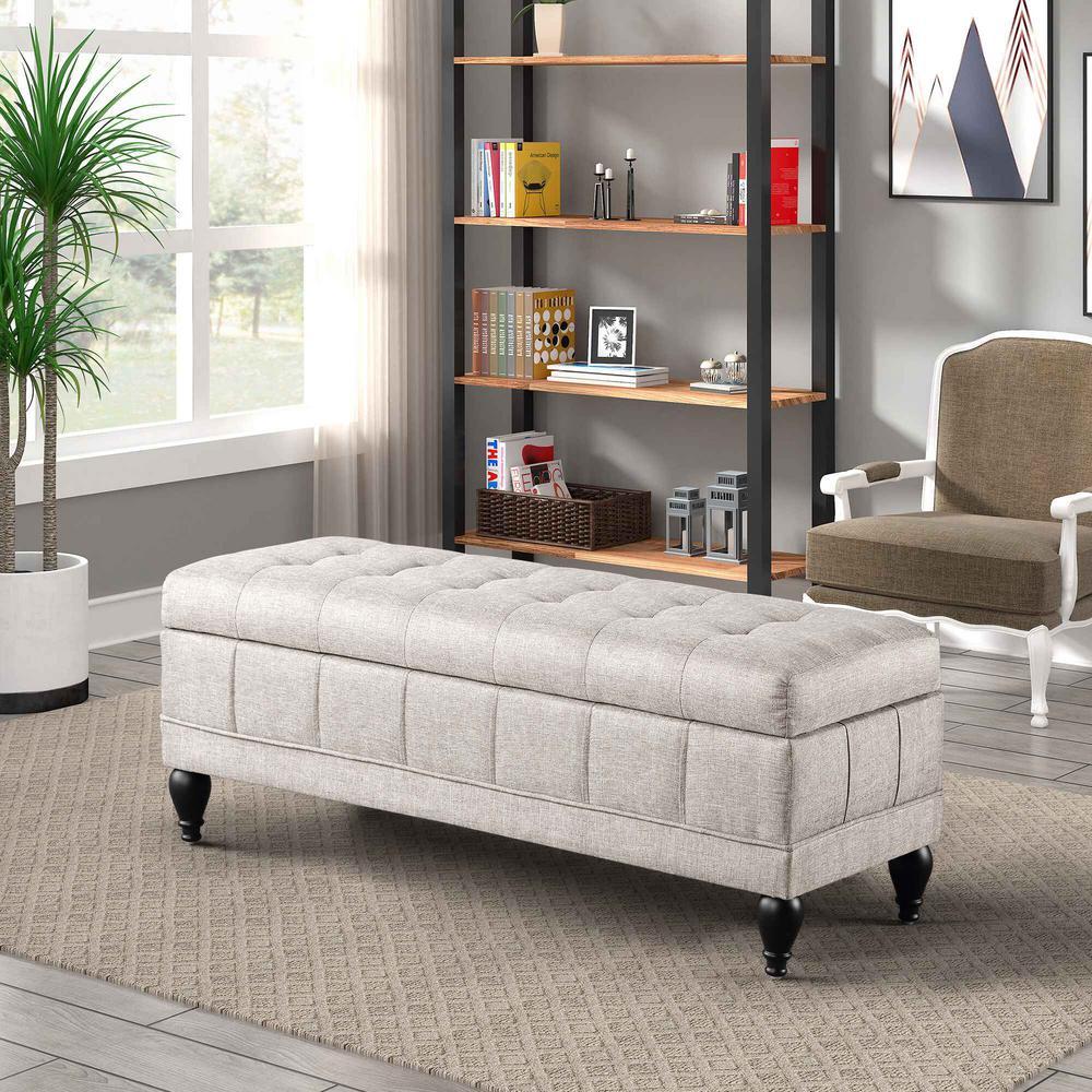 Tatiana Storge Upholstered Bench Velvet fabric Light Grey