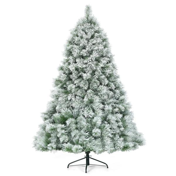 7 ft. Premium Hinged Artificial Christmas Tree Snowy Pine Needles with 808 Branches