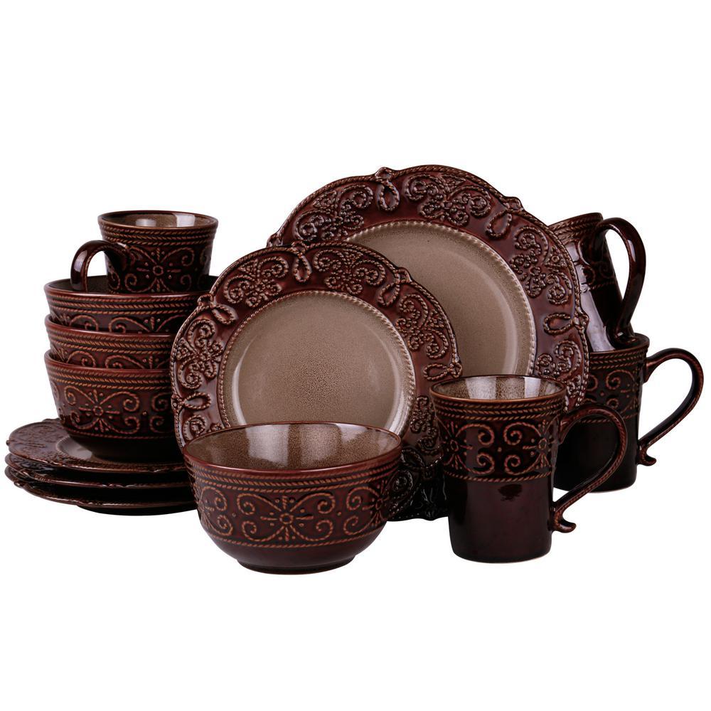 Salia 16-Piece Brown Dinnerware Set