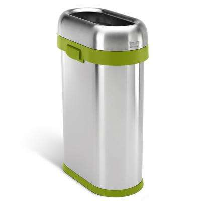 50-Liter Heavy-Gauge Brushed Stainless Steel Slim Open Top Trash Can with Green Trim