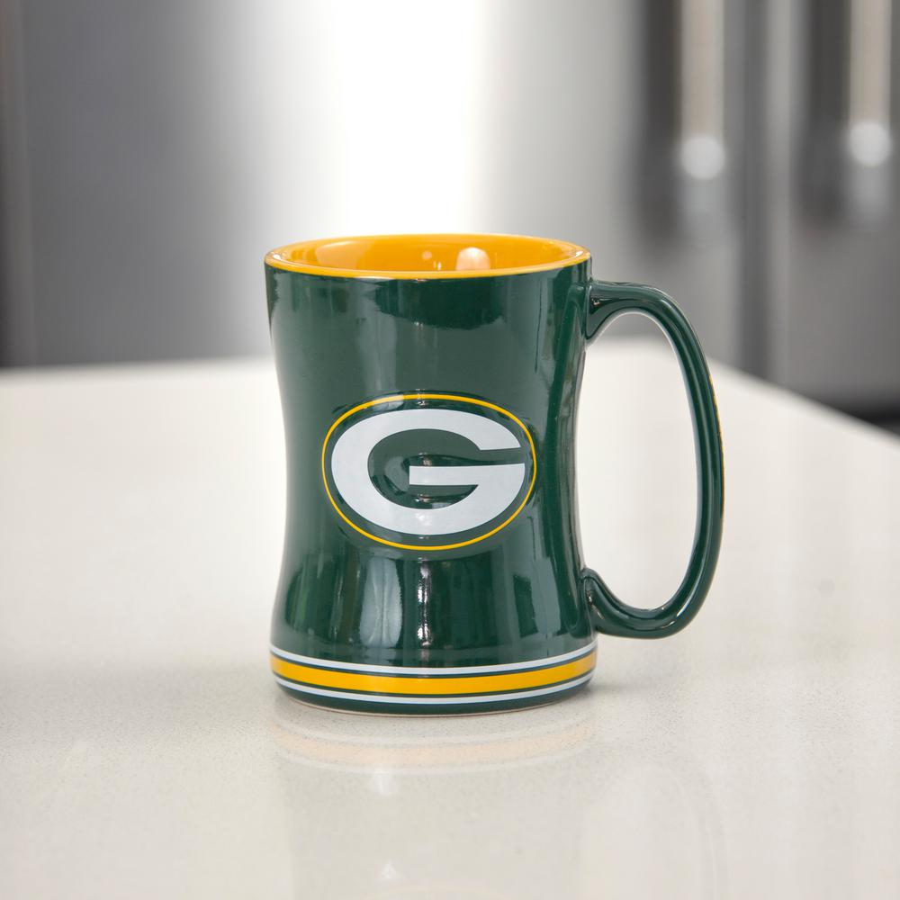 24 Oz Nfl Green Bay Packers Relief Sculpted Mug Set Of 2