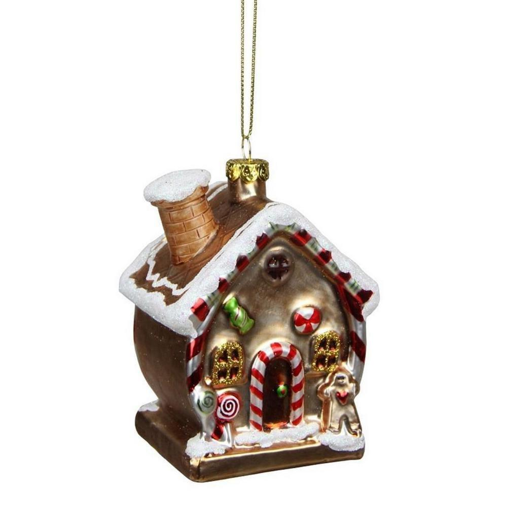 Northlight 3.75 in. Gingerbread Kisses Glittered Glass House ...