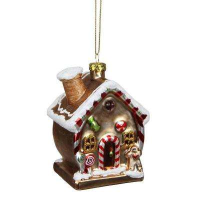 3.75 in. Gingerbread Kisses Glittered Glass House Decorative Christmas Ornament
