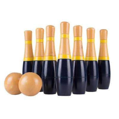 8 in. Wooden Blue and Gold Bowling Lawn Game