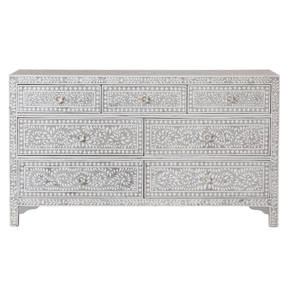 Dhara Bone 7-Drawer Pantone Grey Dresser
