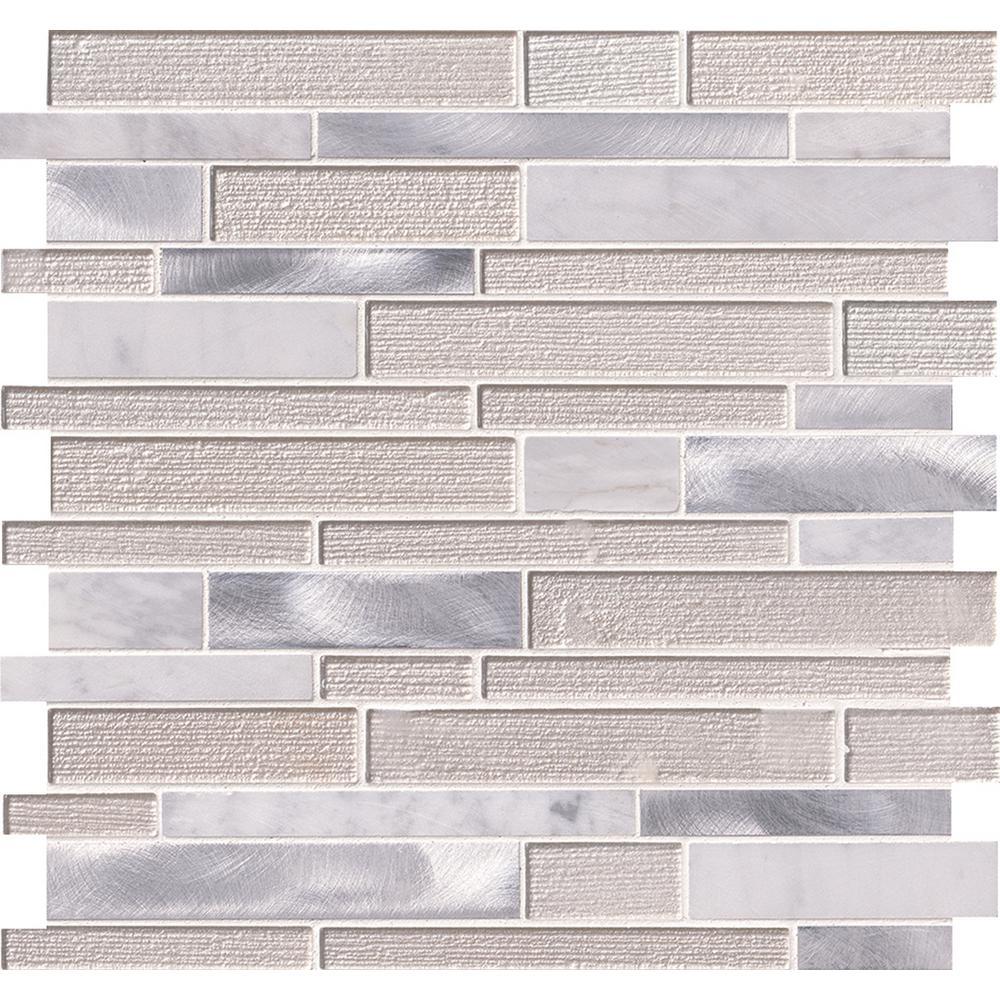 White Wave Interlocking 12 in. x 12 in. x 4 mm Glass/Stone/Metal Mesh-Mounted Mosaic Tile (20 sq. ft. / case)