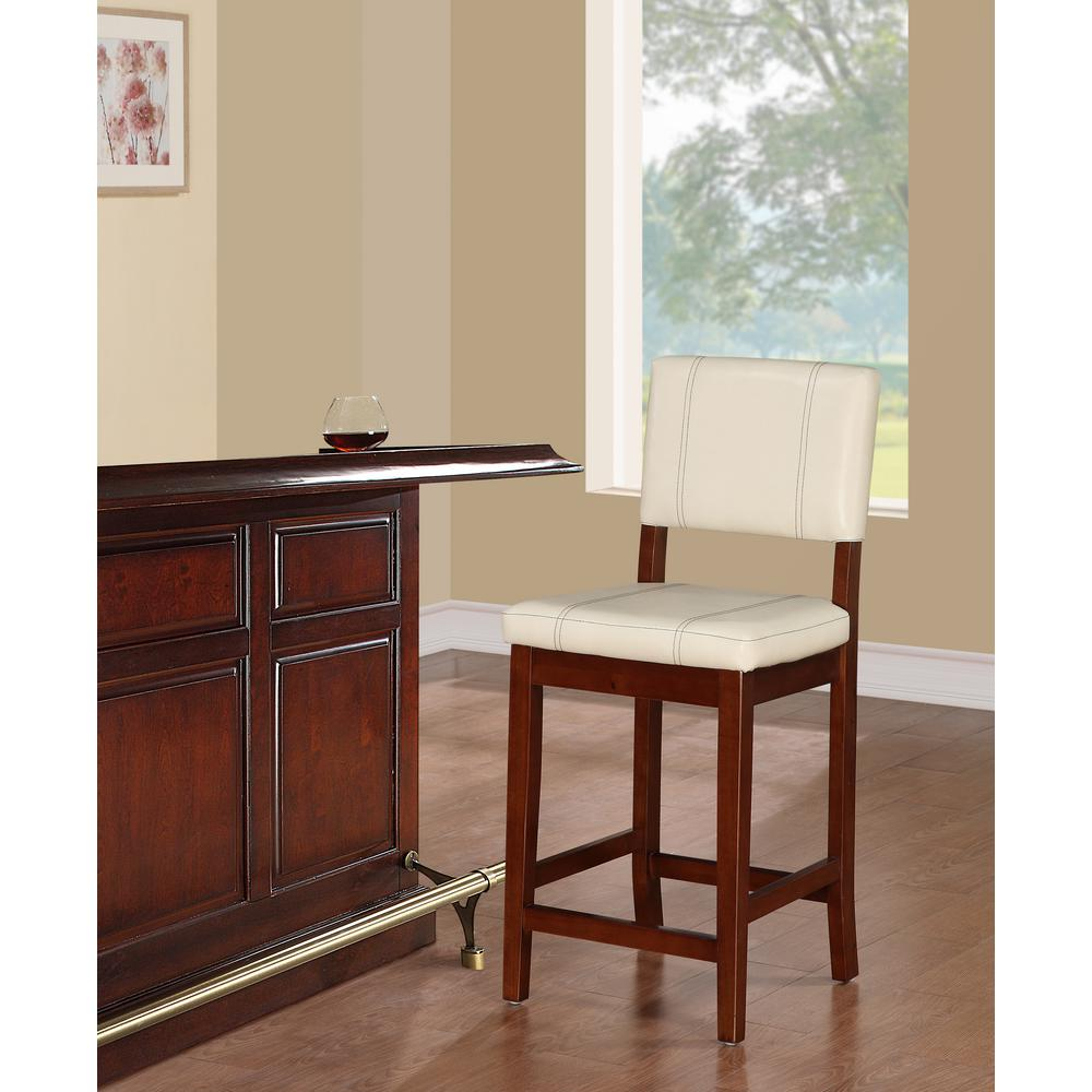 Linon home decor milano 24 in cream cushioned bar stool for Home decor milano