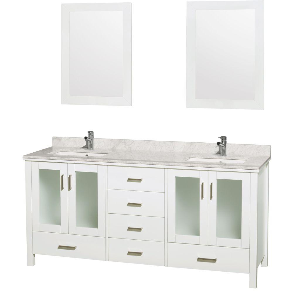 Double Vanity White Marble Vanity Top White Undermounted