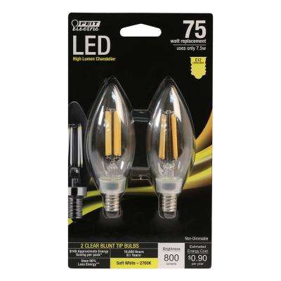 75-Watt Equivalent B10 Candelabra Dimmable Filament LED Clear Glass Light Bulb in Soft White (2700K) (48-Pack)