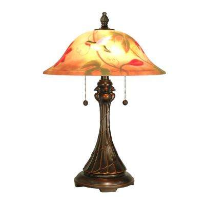 22.5 in. Antique Golden Sand Tropical Sun Table Lamp with Hand Painted Glass Shade