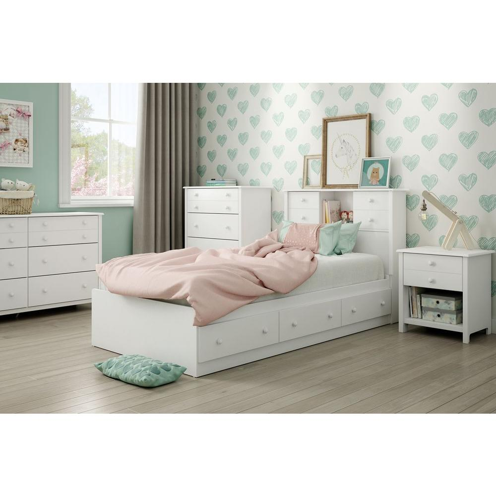 Little Smileys 1-Drawer Pure White Nightstand