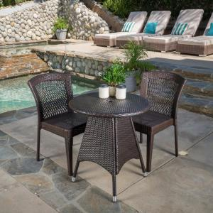 Julius Multi-Brown 3-Piece Wicker Round Outdoor Dining Set with Stacking Chairs