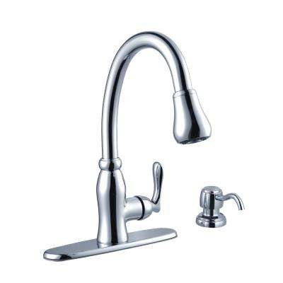 Pavilion Single-Handle Pull-Down Sprayer Kitchen Faucet with Soap Dispenser in Chrome