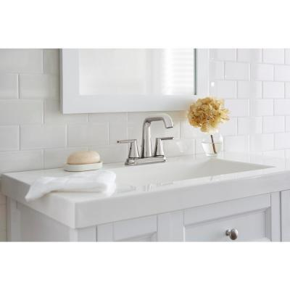 Jax 4 in. Centerset 2-Handle High-Arc Bathroom Faucet in Polished Nickel