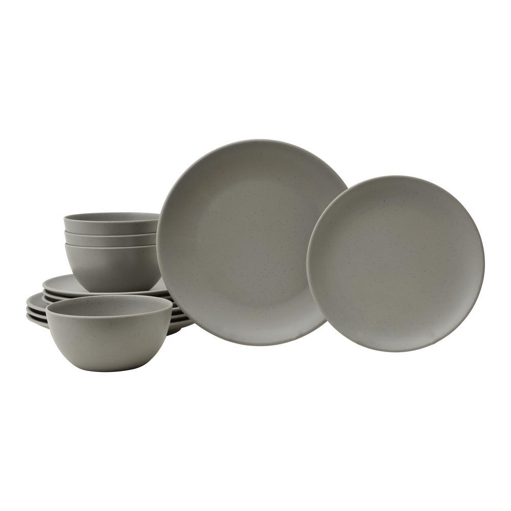 Bryce 12-Piece Grey Melamine Dinnerware Set