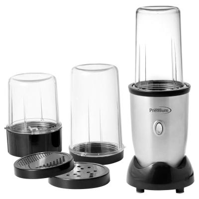 9-Piece 19 oz. Single Speed Silver Personal Blender Set