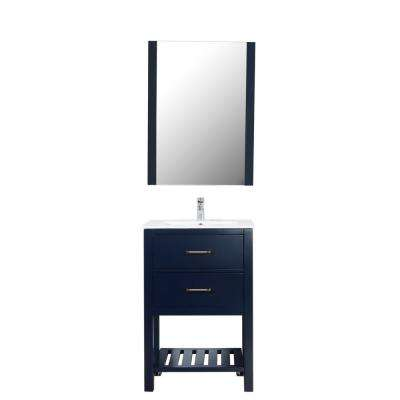 Santa Monica 24 in. W x 18 in. D Vanity in Navy with Ceramic White Basin and Mirror