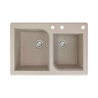 Radius Drop-in Granite 33 in. 3-Hole 1-3/4 Offset Double Bowl Kitchen Sink in Cafe Latte