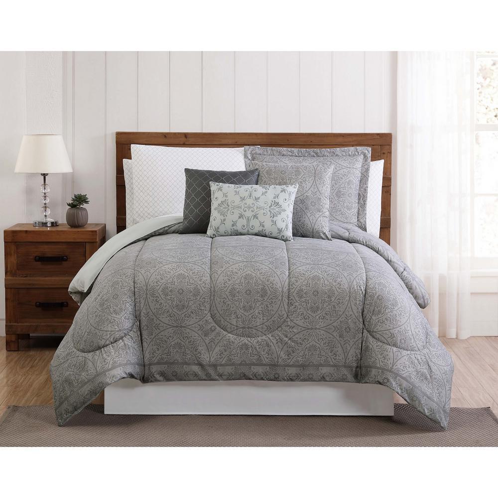 Calista 12-Piece Gray Queen Bed in a Bag Set