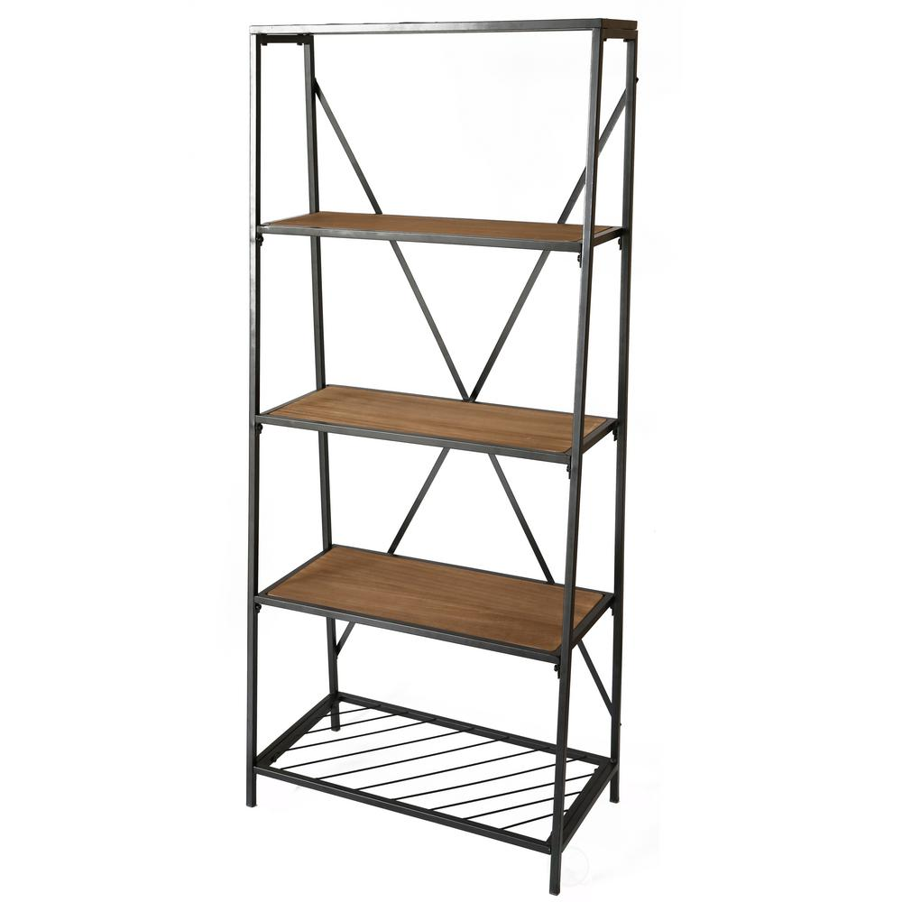 Uniquewise 4 Shelf Wooden Bookcase Wood And Metal Bookshelf