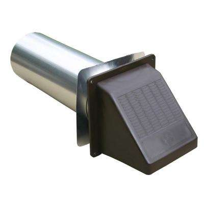 4 in. Brown Plastic Wide Mouth Exhaust Hood with Back Draft Flapper and 11 in. Tailpipe