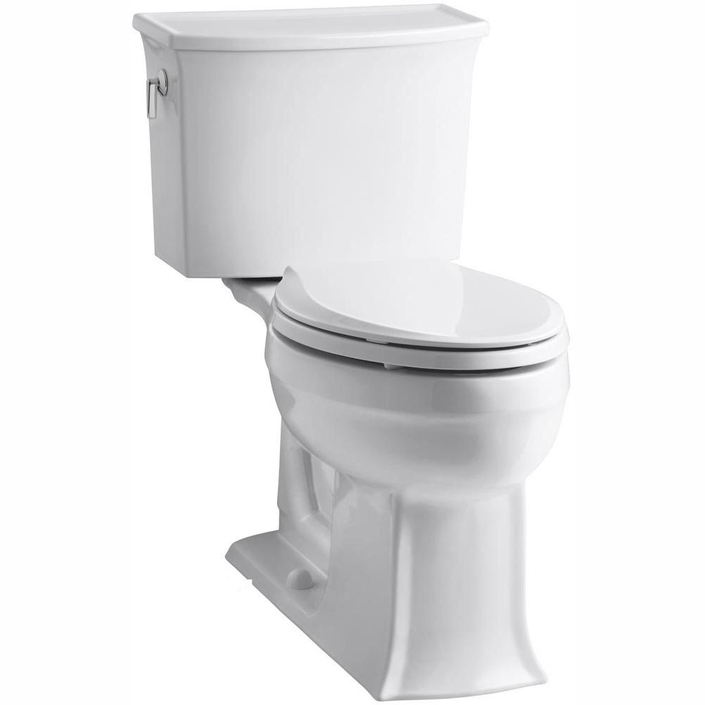 KOHLER Archer Comfort Height 2-piece 1.28 GPF Single Flush Elongated Toilet in White, Cachet Q3 Toilet Seat Included