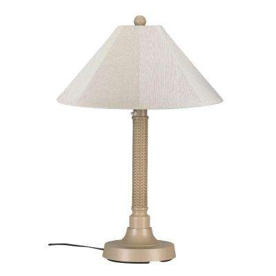Bahama Weave 34 in. Mojavi Outdoor Table Lamp with Canvas Linen Shade