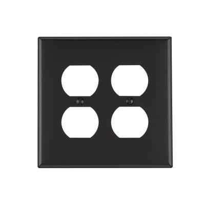 Black 2-Gang Duplex Outlet Wall Plate (1-Pack)