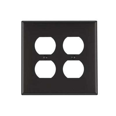 2 Gang Midway Duplex Outlet Nylon Wall Plate, Black