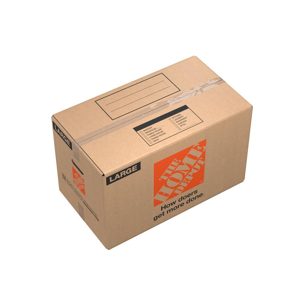 The Home Depot 27 in. L x 15 in. W x 16 in. D Large Moving Box with Handles (50-Pack) The Home Depot Large Moving Box is great for storing and shipping moderately heavy or bulky items. Ideal for kitchen items, toys, small appliances and more. This box is crafted from 100% recycled material for an environmentally responsible moving and storage option.