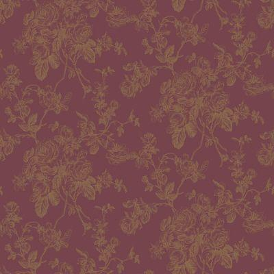 The Wallpaper Company 56 sq.ft. Purple And Metallic Lacey Rose Toile Wallpaper-DISCONTINUED