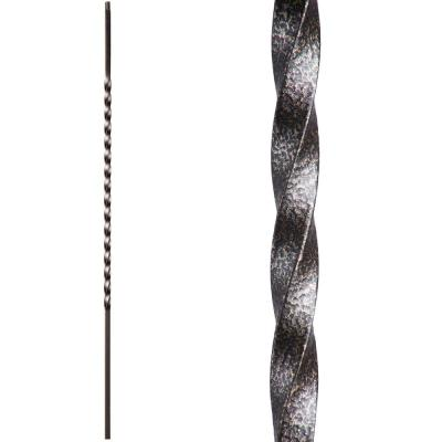 Twist and Basket 44 in. x 0.5 in. Copper Vein Long Single Twist Hollow Wrought Iron Baluster