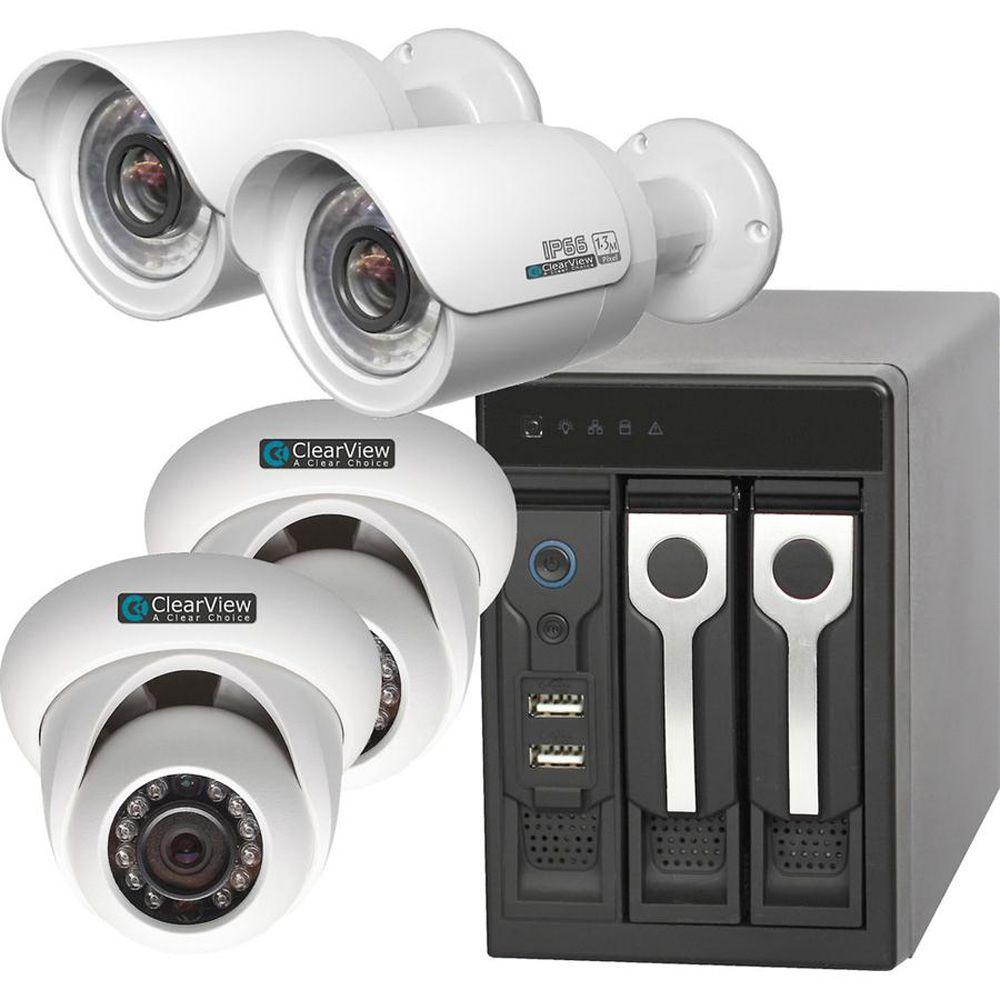 ClearView Wired 8-Channel Phoenix View 2 Dome and 2 Bullet IP Megapixel Standard Surveillance Camera Network Video Recorder Kit
