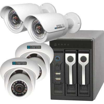 Wired 8-Channel Phoenix View 2 Dome and 2 Bullet IP Megapixel Standard Surveillance Camera Network Video Recorder Kit
