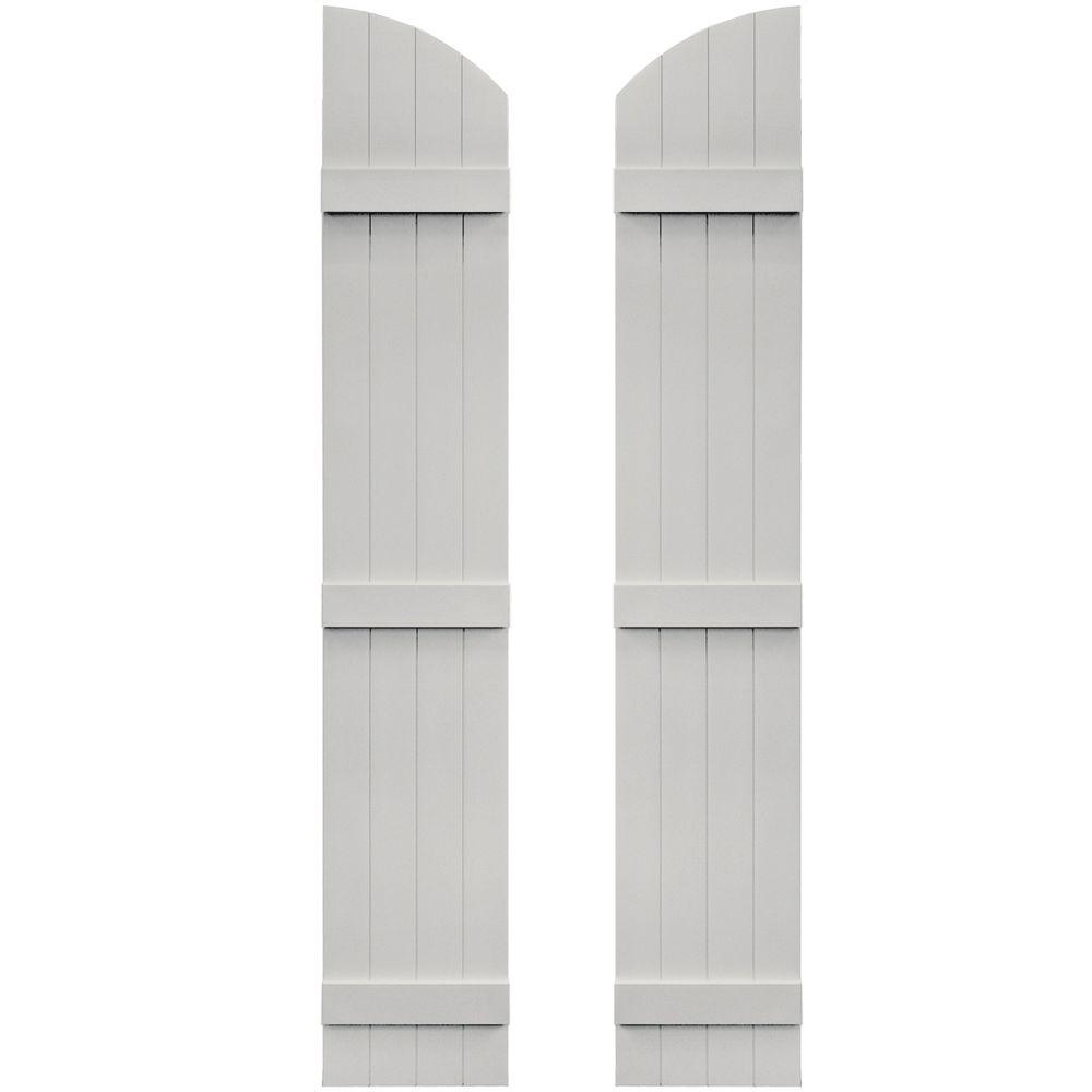 Builders Edge 14 in. x 81 in. Board-N-Batten Shutters Pair, 4 Boards Joined with Arch Top #030 Paintable