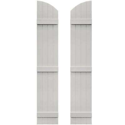 14 in. x 81 in. Board-N-Batten Shutters Pair, 4 Boards Joined with Arch Top #030 Paintable
