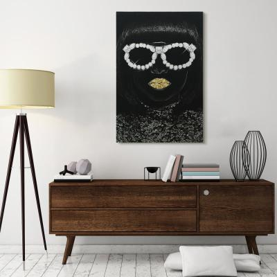 """""""Gold Lips Glitter"""" High Resolution Graphic Art Print on Wrapped Canvas Wall Art"""