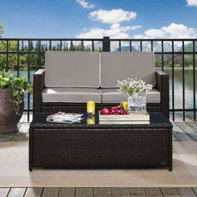 Palm Harbor 2-Piece Wicker Outdoor Seating Set with Grey Cushions- Loveseat and Glass Top Table