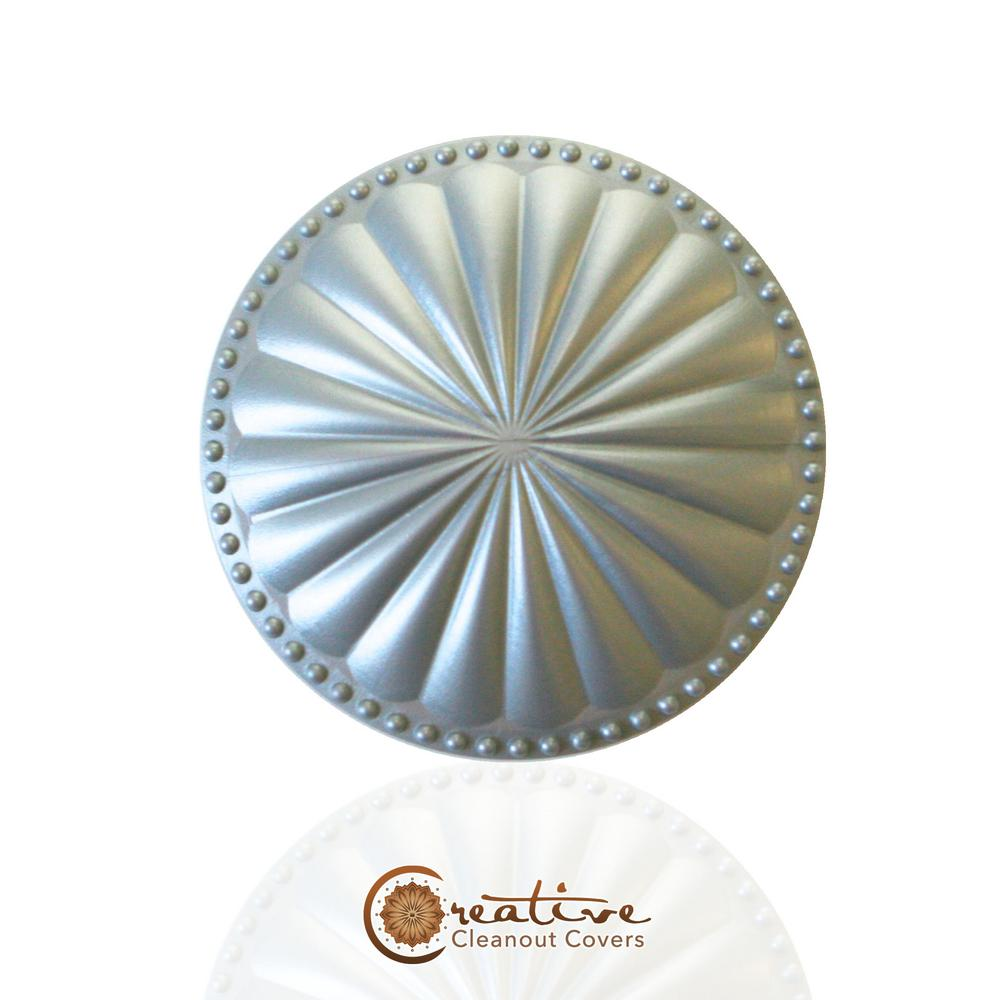 Creative Cleanout Covers Laguna Dome Seaside Silver 5.25 in. x 5.25 in. Cleanout Cover