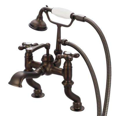 3-Handle Vintage Claw Foot Tub Faucet with Handshower and Cross Handles in Oil Rubbed Bronze