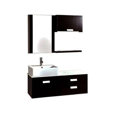 Asroilu 51.50 in. Vanity in Espresso with Solid-Surface Marble Vanity Top in White and Porcelain Sink