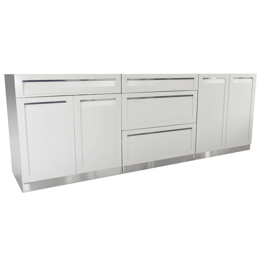 Stainless Steel 3 Piece 96x35x22 5 In Outdoor Kitchen Cabinet Set With Powder Coated Doors White