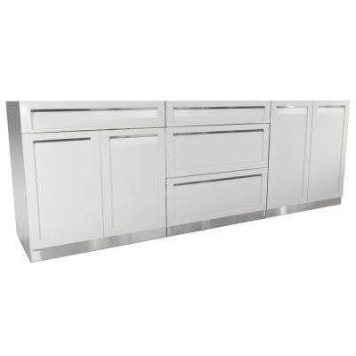 Stainless Steel 3-Piece 96x35x22.5 in. Outdoor Kitchen Cabinet Set with Powder Coated Doors in White