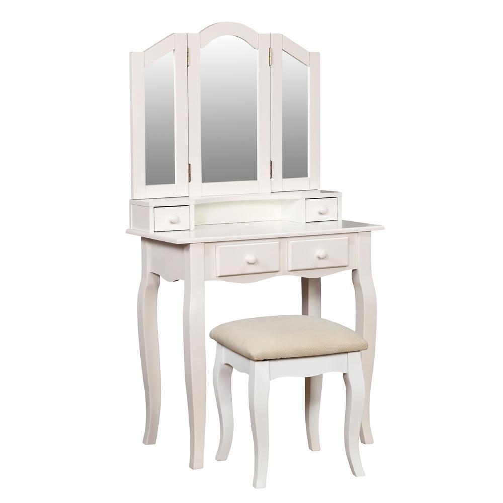 Furniture of America Ziegler 2-Piece White Double Deck Vanity Set IDF-DK6846WH